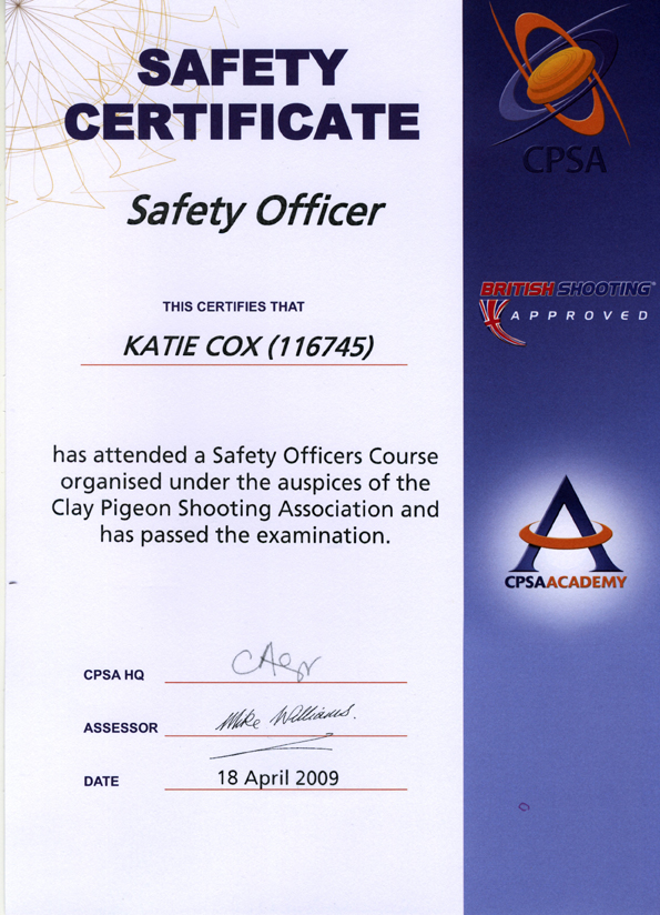 Safety Officer Certificate