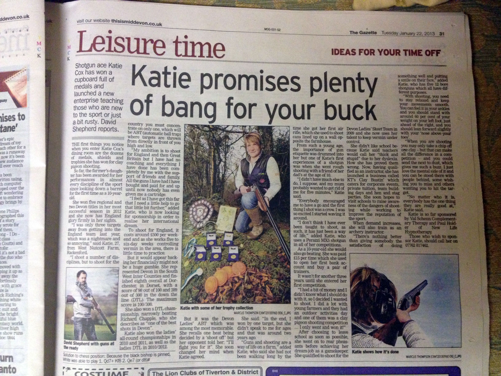 Katie Cox in the Mid Devon Gazette